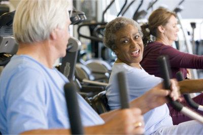 elderly people doing exercise